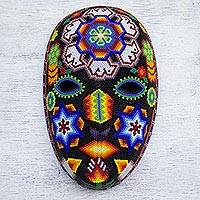 Beadwork mask, 'Peyote Crown' - Handcrafted Huichol Traditional Beadwork Mask