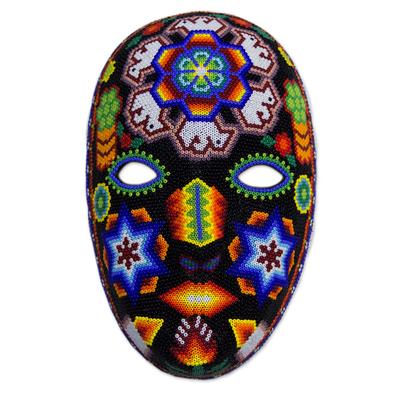 Beadwork mask, 'Peyote Crown' - Handcrafted Huichol Traditional Beadwork Mask