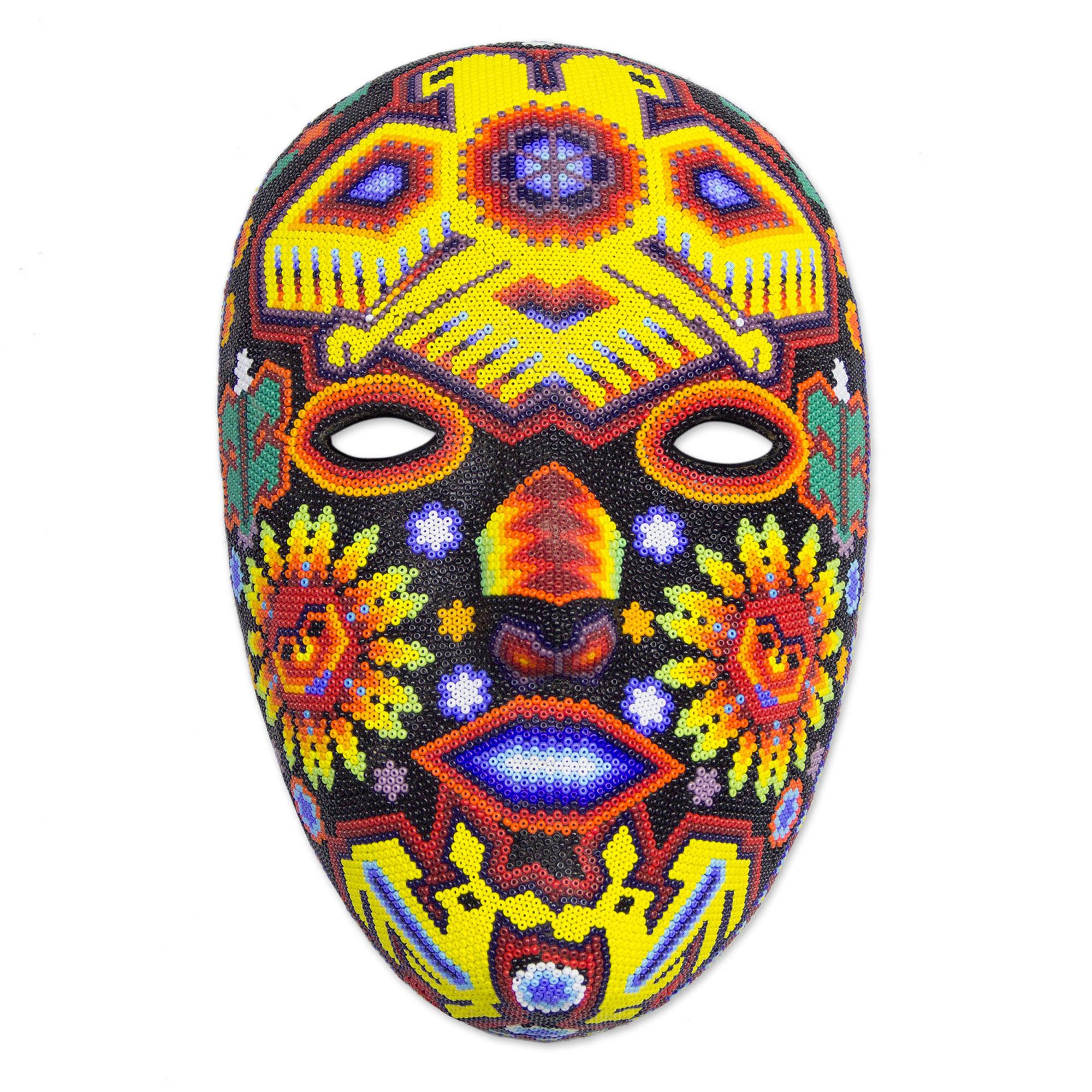 Unicef Market Authentic Huichol Hand Beaded Eagle Mask Duality Of The Gods
