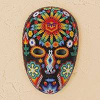 Beadwork mask, 'Father Sun' - Huichol Folk Art Hand Beaded Mask