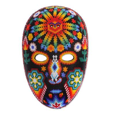 Beadwork mask, 'Father Sun' - Huichol Folk Art Hand Beaded Mask