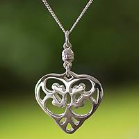 Long necklace, 'Angel Heart' - Sterling Silver Heart Shaped Pendant Necklace