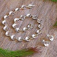 Sterling silver jewelry set, 'Shining Dewdrops' - Hand Crafted Sterling Silver Modern Jewelry Set