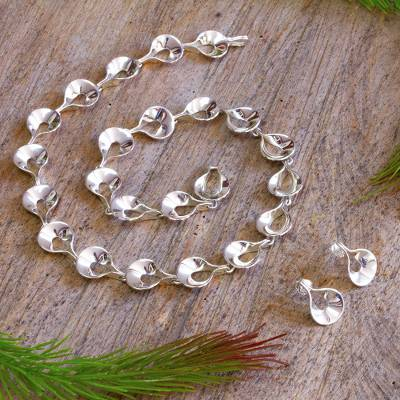 Sterling silver jewelry set, Shining Dewdrops
