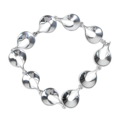 Artisan Crafted Polished Sterling Silver Link Bracelet
