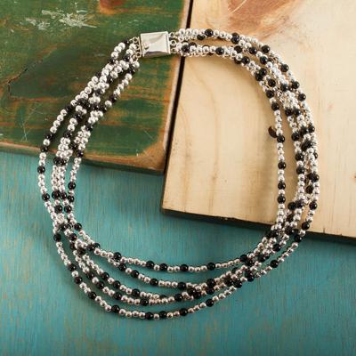 Obsidian choker, 'Midnight Tears' - Obsidian Choker Handmade in Mexico of Taxco Silver