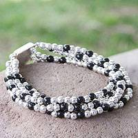 Obsidian beaded bracelet, 'Midnight Tears' - Beaded Bracelet of Taxco Silver and Onyx from Mexico