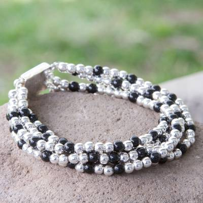 Obsidian beaded bracelet, 'Midnight Tears' - Handcrafted Women's Taxco Silver and Onyx Beaded Bracelet