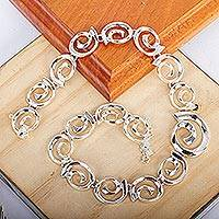 Sterling silver necklace, 'Soul's Inception' - Modern Sterling Silver Link Necklace from Mexico