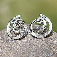 Earrings, 'Soul's Inception' - Handmade Taxco Sterling Silver Button Earrings