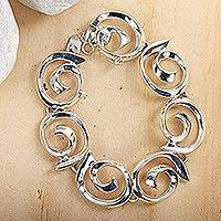 Sterling silver link bracelet, 'Soul's Inception'