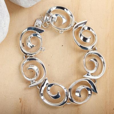 Sterling silver link bracelet, 'Soul's Inception' - Sterling silver link bracelet