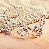 Sterling silver cuff bracelet, 'Soul's Beginning' - Taxco Silver Sterling Cuff Bracelet