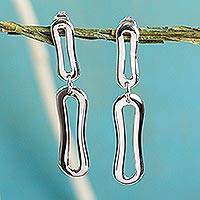 Sterling silver dangle earrings, 'Voice of the Wind' - Sterling silver dangle earrings