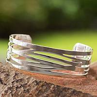 Sterling silver cuff bracelet, 'Savage Tiger'