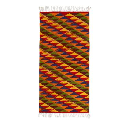 Wool rug, 'Hypnotic Cacti' (2.5x5) - Colorful Zapotec Area Rug in Jewel Tones (2.5x5)