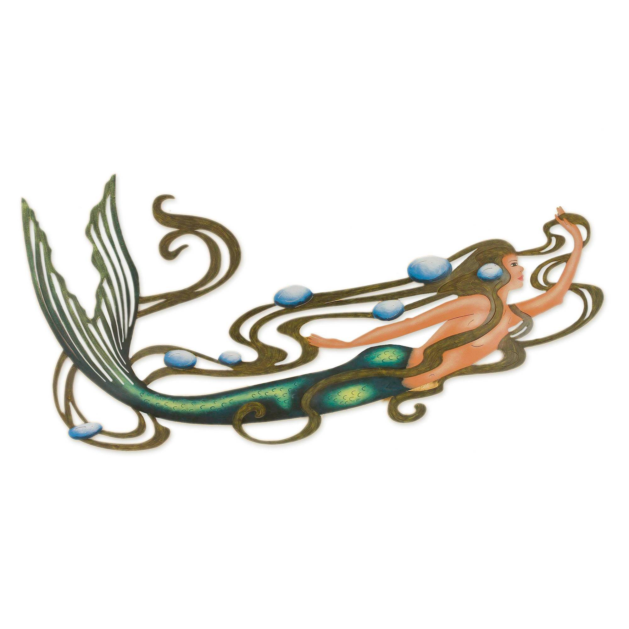 Handcrafted Mermaid Steel Wall Art   Mermaid Magic | NOVICA