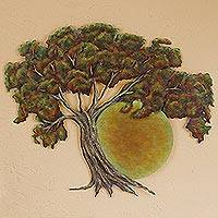 Steel wall art, 'Sunset Oak' - Oak Tree at Sunset Hand Crafted Steel Wall Art from Mexico