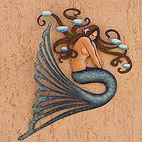Steel wall art, 'Shy Mermaid'