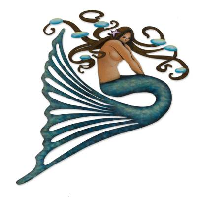 Steel wall art, 'Shy Mermaid' - Handcrafted Steel Wall Sculpture