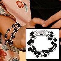 Obsidian beaded bracelet, 'Midnight Tears' - Fair Trade Taxco Silver Beaded Onyx Bracelet
