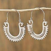 Sterling silver hoop earrings, 'The Plumed Serpent' (2 inch) - Unique Sterling Silver Hoop Earrings