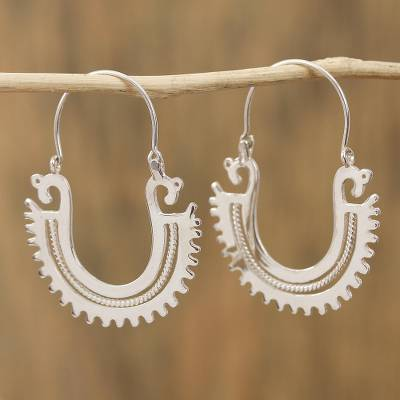Sterling silver hoop earrings, The Plumed Serpent (2 inch)