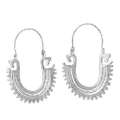 Sterling silver hoop earrings, 'The Plumed Serpent' (2 inch) - Unique Sterling Silver Hoop Earrings