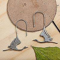 Earrings, 'White Heron' - Hand Crafted Sterling Silver Bird Earrings