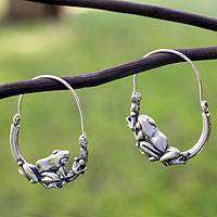Sterling silver hoop earrings, 'Tree Frogs' - Sterling silver hoop earrings