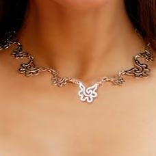 Choker, 'Aztec Seashell' - Handmade Modern Sterling Silver Link Necklace
