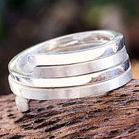 Sterling silver band ring, 'Interconnections'