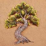 Steel Wall Art Tree Sculpture, 'Forest Bonsai'