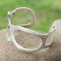 Sterling silver cuff bracelet, 'Glimmer' - Sterling silver cuff bracelet