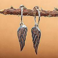 Sterling silver dangle earrings, 'Angel Wings' - Handcrafted Protection Sterling Silver Dangle Earrings