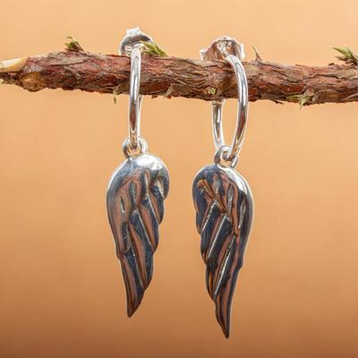 Sterling silver dangle earrings, 'Angel Wings' - Handcrafted Protection Sterling Silver Dangle Earrings