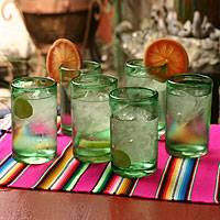 Highball glasses, 'Emerald Green' (set of 6) - Artisan Crafted Handblown Glass Recycled Cocktail Drinkware