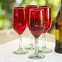 Blown glass champagne flutes, 'Lovely Rubies' (set of 4) - Hand Made Handblown Red Glass Champagne Flute Drinkware Set