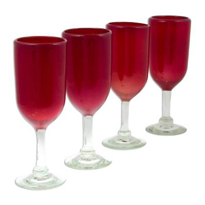 red glass champagne flute