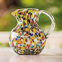 Blown glass pitcher, 'Confetti' - Hand Blown Glass Pitcher 71 Oz Multicolour Mexican Art