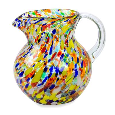 Hand Blown Glass Pitcher 71 Oz Multicolor Mexican Art