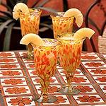 Handblown Glass Recycled Cocktail Drinkware (Set of 4), 'Sun Celebration'