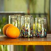 Blown glass tumblers, 'Confetti Festival' (set of 6) - Handblown Recycled Glass Tumbler Drinkware (Set of 6)