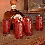 Mexico Red Handblown Glass Recycled Shot Drinkware Set of 6, 'Ripe Ruby'