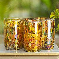 Blown glass tumblers, 'Carnival' (set of 6) - Handcrafted Blown Glassware Set from Mexico
