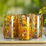 Multicolor Hand Blown Glasses Tumblers Set of 6 Mexico, 'Carnival'