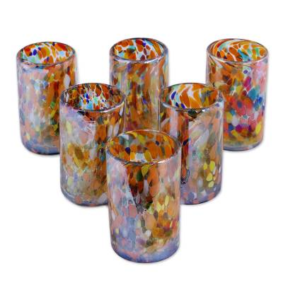 Blown glass tumblers, 'Carnival' (set of 6) - Multicolor Hand Blown Glasses Tumblers Set of 6 Mexico