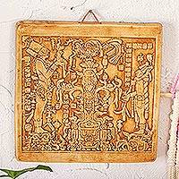 Ceramic plaque, 'Maya Foliated Cross' - Ceramic Plaque of Art from Palenque