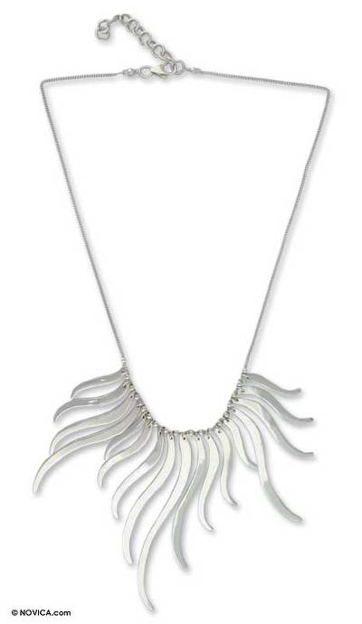 Sterling silver pendant necklace, 'Fairy Whispers' - Silver Pendant Necklace Handmade in Mexico