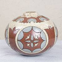 Ceramic vase, '1001 Nights Globe' - Handcrafted Fair Trade Mexican Ceramic Vase